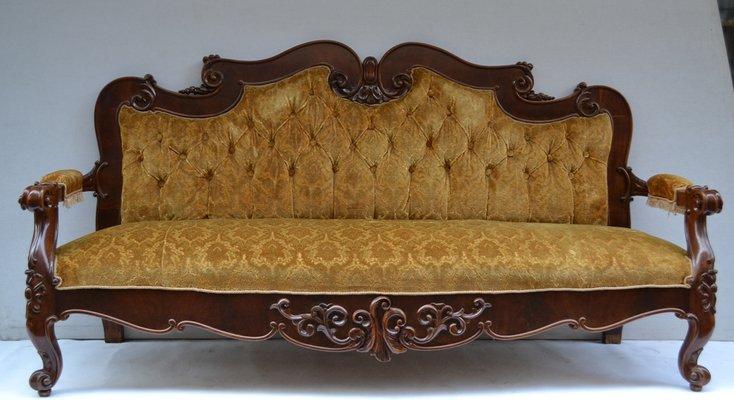 Antique Italian Walnut and Velvet Sofa 1 - Antique Italian Walnut And Velvet Sofa For Sale At Pamono