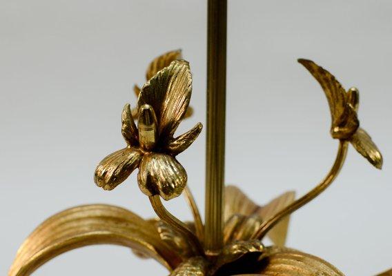 Mid Century Brass Fleur De Lis Table Lamp 1960s