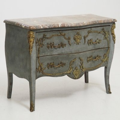 Incroyable Antique Chest Or Side Table With Marble Top