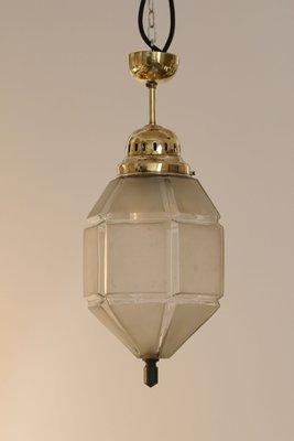 Vintage Art Deco Milchglas und Messing Deckenlampe bei Pamono kaufen