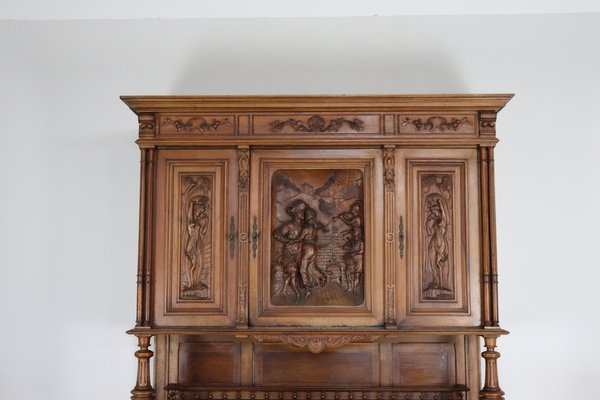 Credenza Con Scolapiatti : Credenza antica in legno di noce intagliato vendita su pamono