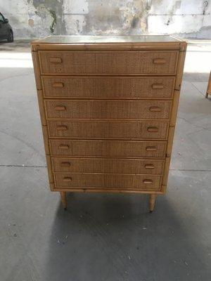 online store 79568 69e67 Mid-Century Italian Modern Bamboo Chest of Drawers, 1970s