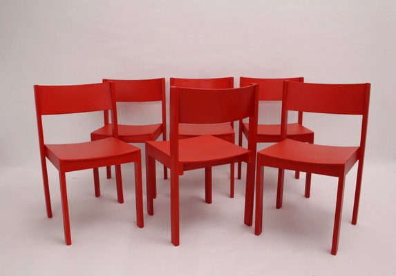 Stackable Red Dining Chairs By Carl Auböck For E. U0026 A. Pollak, 1956, Set Of  6