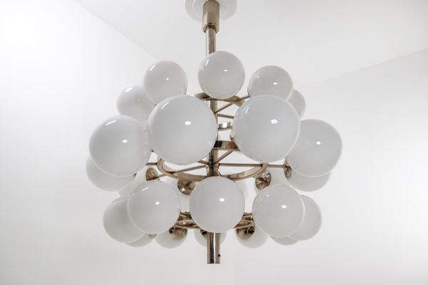 Large Chandelier With 30 Handblown Opaline Glass Globes 1960s