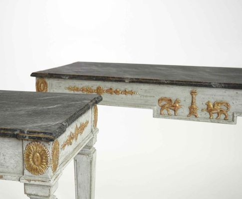 19th Century Swedish Console Tables With Guilted Decorations U0026 Painted Faux  Marble Top, Set