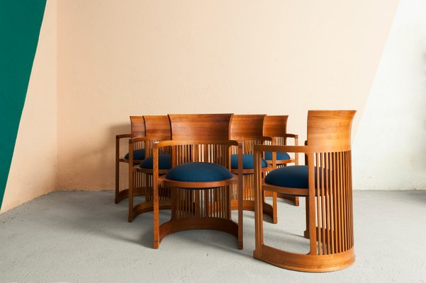 Taliesin Barrel Chairs By Frank Lloyd Wright For Cina 1980s Set Of 6