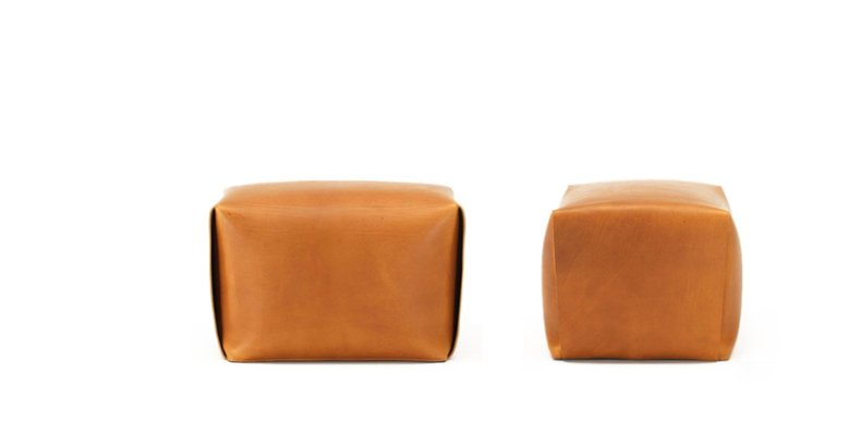 Brandina Pouf.Bao Natural Leather Ottoman By Viola Tonucci For Tonucci Manifestodesign
