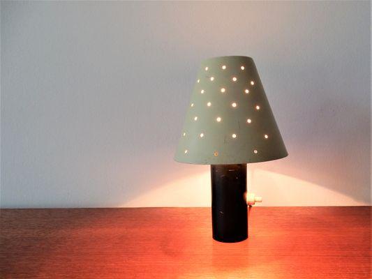 Petite lampe de bureau vintage en métal Écru et noir en vente sur