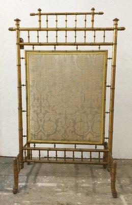 Ecran De Cheminee Dore Vintage En Imitation Bambou France En Vente