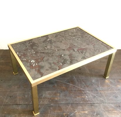 Awesome Vintage Marble Fossil Brass Coffee Table Spiritservingveterans Wood Chair Design Ideas Spiritservingveteransorg