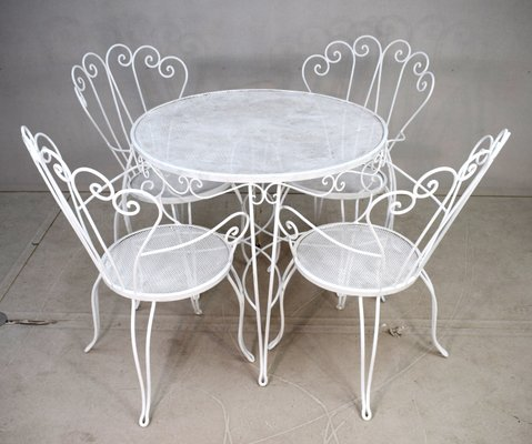 Sedie E Tavoli In Ferro Per Giardino.Tavolo Da Giardino Con Quattro Sedie Anni 50 In Vendita Su Pamono