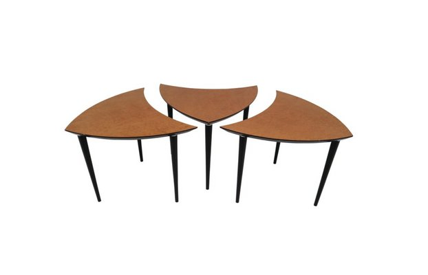 Small Italian Triangle Shaped Coffee Tables 1960s Set Of 3 For