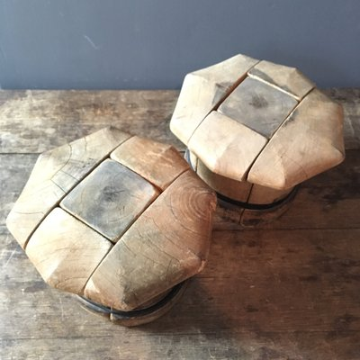 Vintage French Wooden Puzzle Hat Blocks Set Of 2