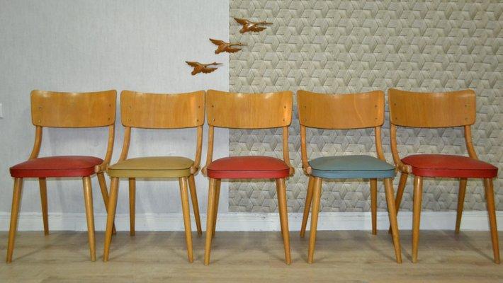 Sedie da cucina colorate, anni \'50, set di 5 in vendita su Pamono