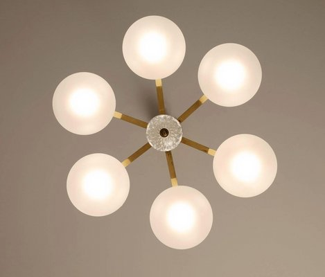 Large Vintage Chandelier in Frosted Glass & Brass, 1970s
