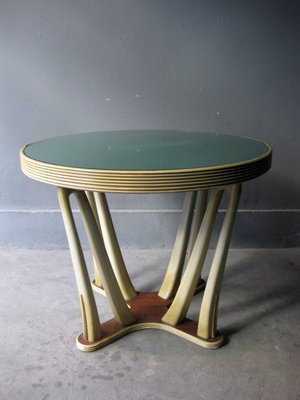 Ripiano In Vetro Per Tavolo.Tavolo Vintage In Legno Verniciato Con Ripiano In Vetro In Vendita