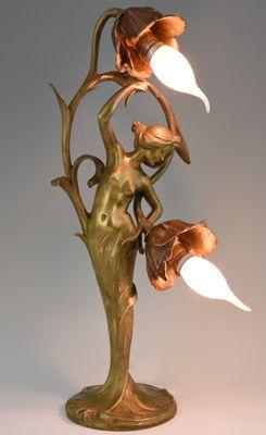 Antike Jugendstil Lampe Aus Bronze Von Louis François Moreau Bei