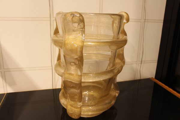 Large Gold Murano Glass Flower Vase 1980s For Sale At Pamono
