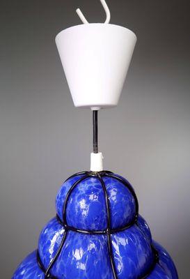 Lampadario in vetro blu di Flygsfors, anni \'60