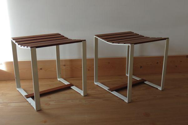 Teak & Metal Slatted Stools or Side Tables, 1960s, Set of 2 for sale ...