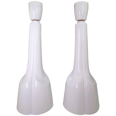 Danish Sculptural White Porcelain Table Lamps By Søholm Stentøj, 1960s, Set  Of 2 1