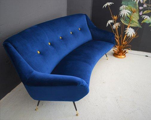 Astonishing Italian Curved Mid Century Modern Sofa 1950S Alphanode Cool Chair Designs And Ideas Alphanodeonline