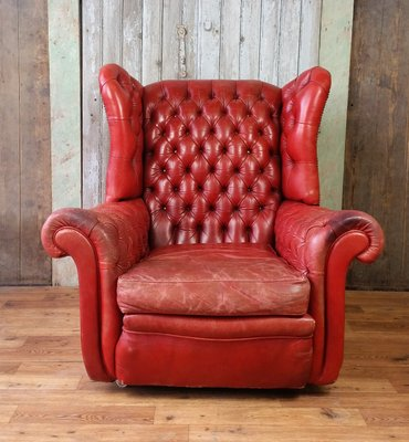 English Leather Wing Back Chesterfield Armchair, 1960s 1