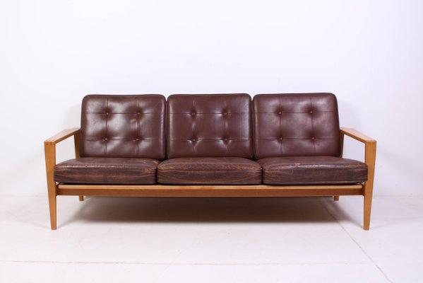 Mid Century Oak And Leather Kastrup Sofa By Erik Wørts, 1950s