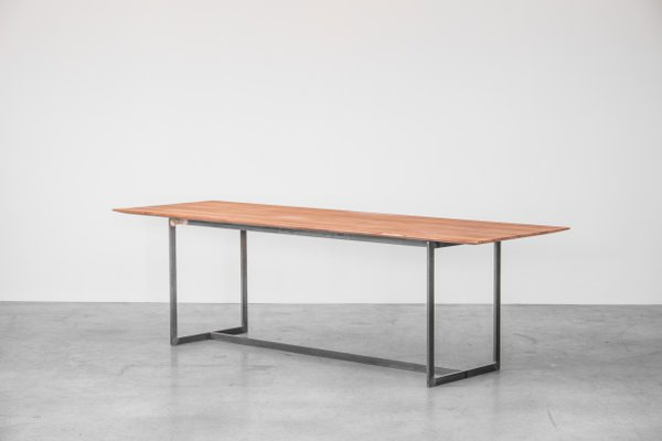 Dining Table With Oak Top And Cold Drawn Steel Frame By Atelier Serruys 1