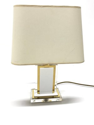 Vintage Brass Lucite Table Lamps 1970s Set Of 2