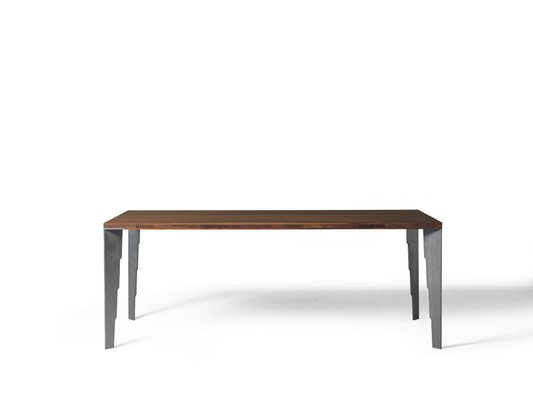 Large Oiled Natural Walnut Fixed Table With Steel Effect Metal