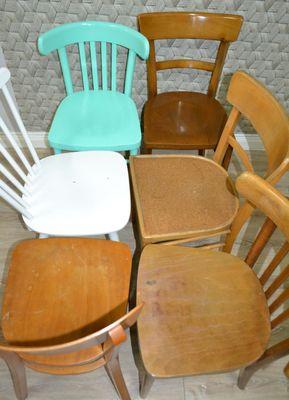 Sedie da cucina in legno, anni \'60, set di 6 in vendita su Pamono