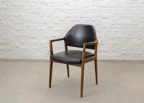 Mid Century Scandinavian Teak Leather Desk Chair 1960s 2