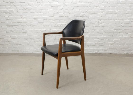 Mid Century Scandinavian Teak Leather Desk Chair 1960s 3