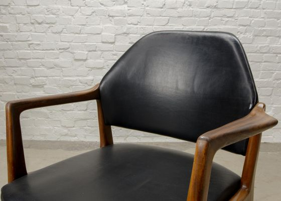 Mid-Century Scandinavian Teak & Leather Desk Chair, 1960s