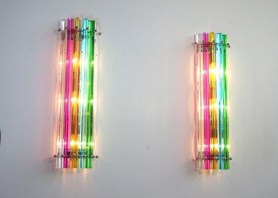 Appliques murales multicolore en verre murano 1984 set de 2 en