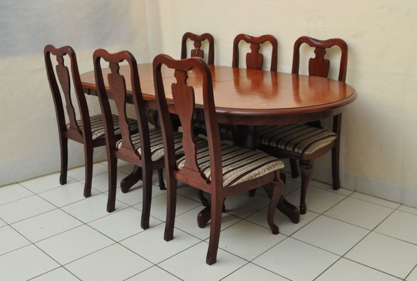 Vintage Mahogany Dining Set With 6 Chairs 2