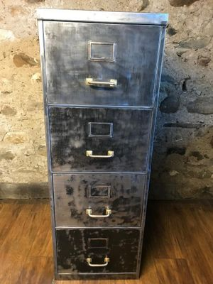 Vintage Industrial Stripped Metal Filing Cabinet With 4 Drawers 1