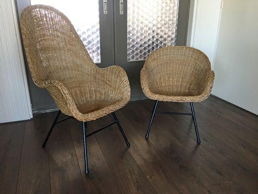 Mid Century Rattan Chairs From Gebroeders Jonkers Noordwolde Set Of 2 1