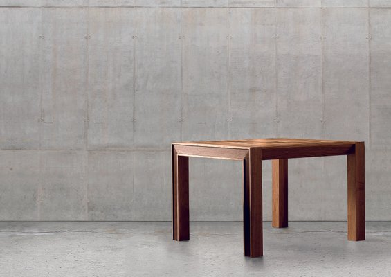 Extendable Square Table In Oiled Walnut With Inlaid Veneer Top From Dale Italia
