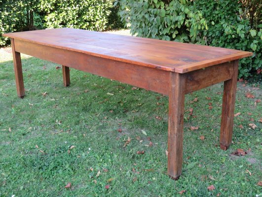 Large Antique Oak U0026 Cherry Wood Farmhouse Dining Table 2