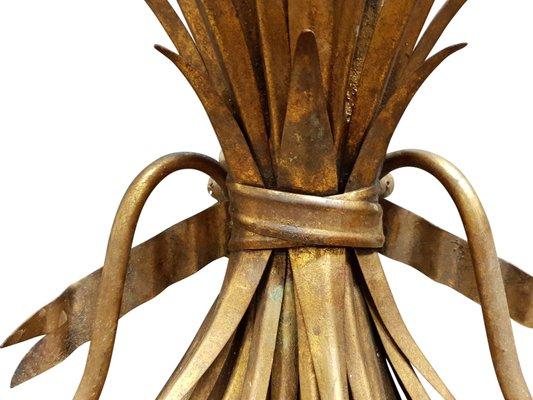 Applique da parete con fascio di grano in metallo dorato italia