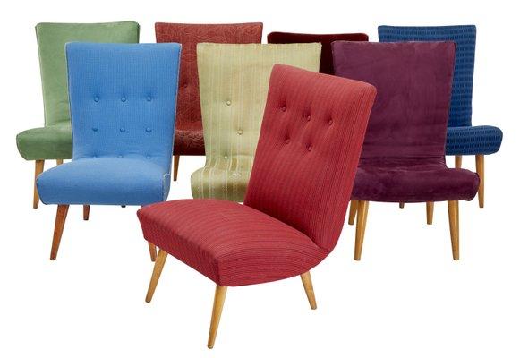 Scandinavian Modern Lounge Chairs, 1970s, Set Of 8 1