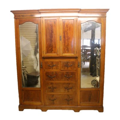 Edwardian Breakfront Triple Combination Wardrobe With Key Antiques Edwardian (1901-1910)