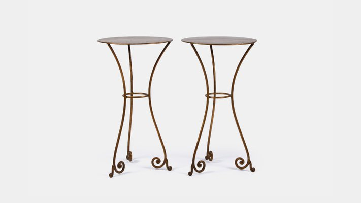 Gentil Mid Century Wrought Iron Side Tables, Set Of 2