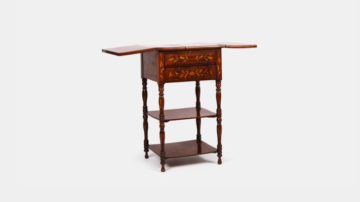 antique dutch marquetry bi fold table for sale at pamono