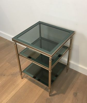 Silvered Side Tables with Glass Tops, 1940s, Set of 2