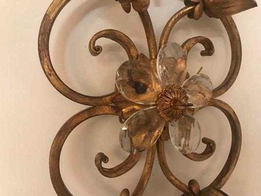 Applique vintage in metallo dorato set di 2 in vendita su pamono