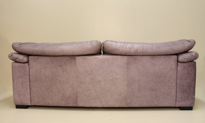 Terrific Vintage Gunmetal Grey Leather Two Seater Sofa Spiritservingveterans Wood Chair Design Ideas Spiritservingveteransorg