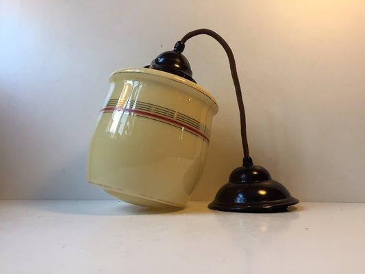 Lampade A Sospensione Vintage : Lampada a sospensione vintage in vetro opalino e bachelite